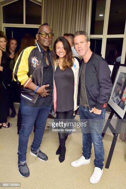 Randy Jackson Anahid Krile and Scott Lipps attend Diesel Presents Scott Lipps Photography Exhibition 'Rocks Not Dead' at Sunset Tower on June 28 2018...