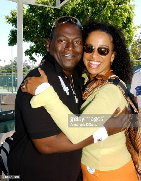 Randy Jackson and Rae Dawn Chong during TJ Martell / Neil Bogart Foundation 2006 Racquet Rumble Tennis Tournament at Riviera Tennis Club in Los...