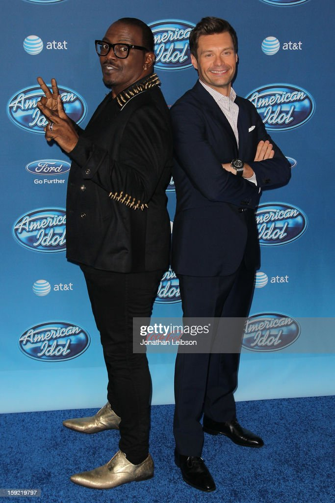 Randy Jackson and Ryan Seacrest attend the FOX's 'American Idol' Season 12 Premiere at Royce Hall on the UCLA Campus on January 9, 2013 in Westwood, California.