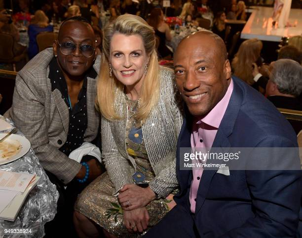 Randy Jackson Founder of Race To Erase MS Nancy Davis and Byron Allen attend the 25th Annual Race To Erase MS Gala at The Beverly Hilton Hotel on...