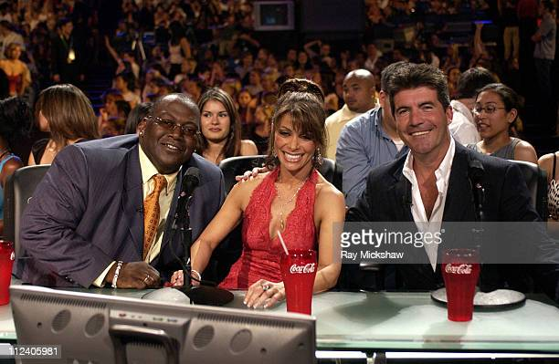 Randy Jackson Paula Abdul and Simon Cowell during American Idol Season 2 Finale Results Show at Universal Amphitheatre in Universial City California...