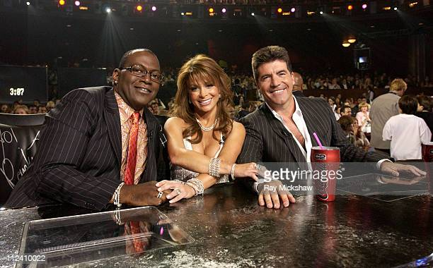 Randy Jackson Paula Abdul and Simon Cowell during 'American Idol' Season 3 Finale Results Show at Kodak Theatre in Hollywood California United States