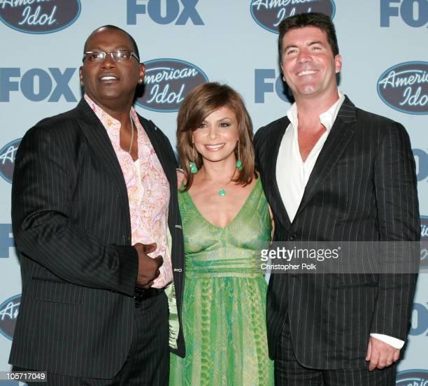 Randy Jackson Paula Abdul and Simon Cowell during 'American Idol' Season 4 Finale Press Room at The Kodak Theatre in Hollywood CA United States