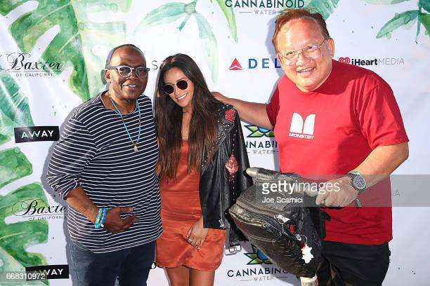 Randy Jackson Shay Mitchell and Noel Lee attend the KALEIDOSCOPE LAWN TALKS presented by Delta Air Lines Cannabinoid Water on April 13 2017 in La...