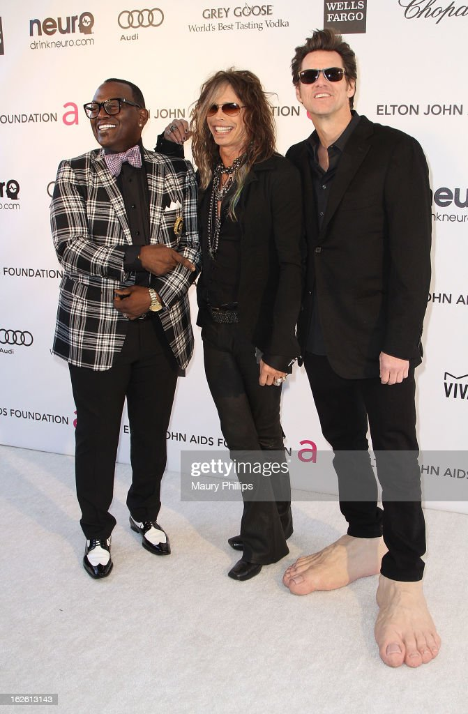Randy Jackson, Steven Tyler and Jim Carrey arrive at the 21st Annual Elton John AIDS Foundation Academy Awards Viewing Party at Pacific Design Center on February 24, 2013 in West Hollywood, California.
