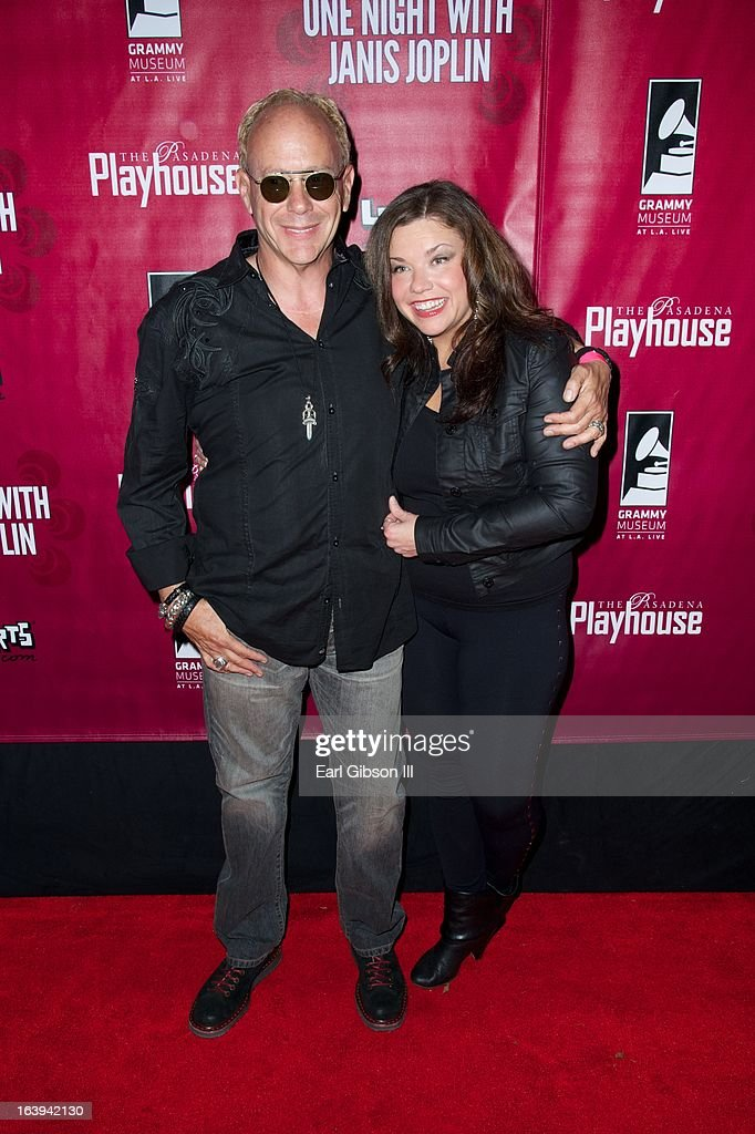 Randy Johnson and Mary Bridget Davies pose for a photo at the opening nights performance of 'One Night With Janis Joplin' at Pasadena Playhouse on March 17, 2013 in Pasadena, California.