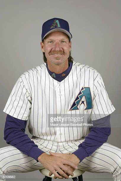 Randy Johnson of the Arizona Diamondbacks on February 28, 2004 in Tucson, Arizona.