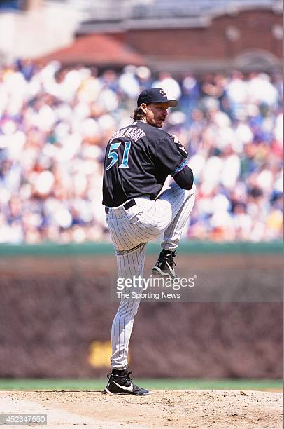 Randy Johnson of the Arizona Diamondbacks pitches against the Chicago Cubs at Wrigley Field on April 30 2000 in Chicago Illinois The Diamondbacks...