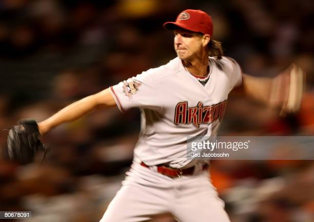 Randy Johnson of the Arizona Diamondbacks pitches against the San Francisco Giants during a Major League Baseball game on March 14, 2008 at AT&T Park...