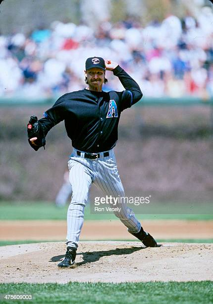 Randy Johnson of the Arizona Diamondbacks pitches during a game at Wrigley Field on April 30 2000 in Chicago Illinois