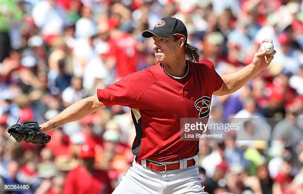 Randy Johnson of the Arizona Diamondbacks pitches during a Spring Training game against the Los Angeles Angels of Anaheim at Tempe Diablo Stadium on...