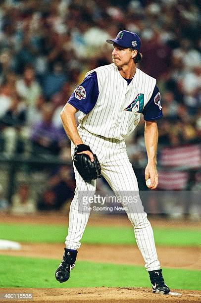 Randy Johnson of the Arizona Diamondbacks pitches during Game Two of the World Series against the New York Yankees on October 28 2001 at Bank One...