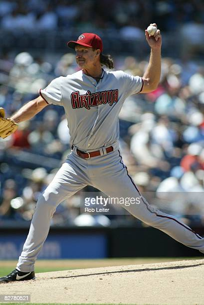 Randy Johnson of the Arizona Diamondbacks pitches during the game against the San Diego Padres at Petco Park in San Diego California on August 27...