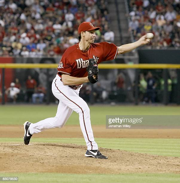 Randy Johnson of the Arizona Diamondbacks pitches during the game against the Colorado Rockies at Chase Field in Phoenix Arizona on September 28 2008...
