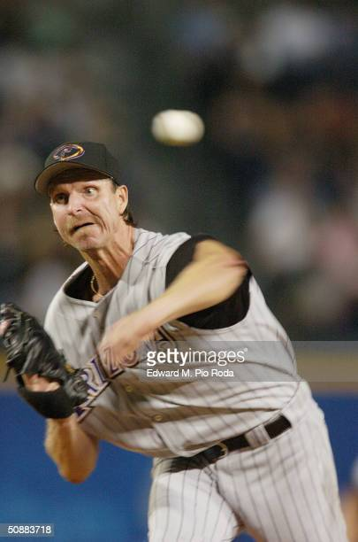 Randy Johnson of the Arizona Diamondbacks throws a pitch against the Atlanta Braves during the game on May 18 2004 at Turner Field in Atlanta Georgia...