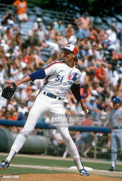 Randy Johnson of the Montreal Expos pitches against the Los Angeles Dodgers during an Major League Baseball spring training game circa 1989 at Jackie...
