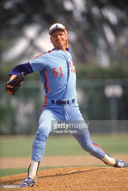 Randy Johnson of the Montreal Expos pitches during an Major League Baseball spring training game circa 1989 Johnson played for the Expos from 198889