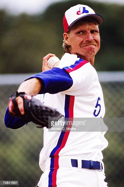 Randy Johnson of the Montreal Expos pitching during a spring training game in March 1989 in West Palm Beach Florida