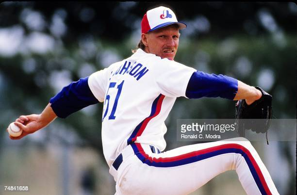 Randy Johnson of the Montreal Expos pitching during a spring training game in March, 1989 in West Palm Beach, Florida.