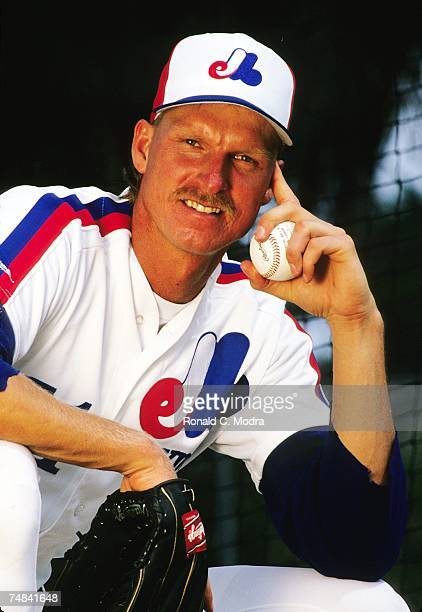Randy Johnson of the Montreal Expos posing during spring training game in March 1989 in West Palm Beach Florida
