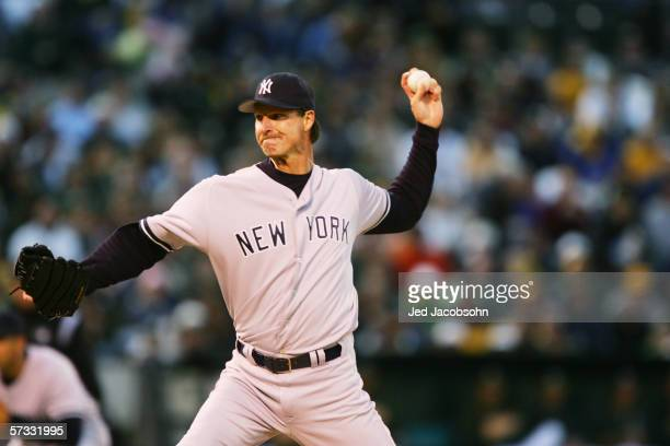 Randy Johnson of the New York Yankees pitches against the Oakland Athletics during the Opening Day game at McAfee Coliseum on April 3 2006 in Oakland...