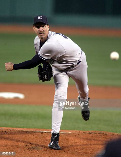 Randy Johnson of the New York Yankees pitches in the first inning against the Boston Red Sox at Fenway Park on April 14 2005 in Boston Massachusetts...