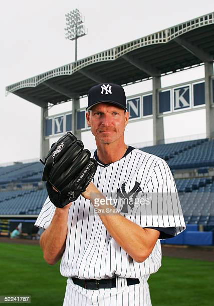 Randy Johnson of the New York Yankees poses for a portrait during Yankees Photo Day at Legends Field on February 25 2005 in Tampa Florida