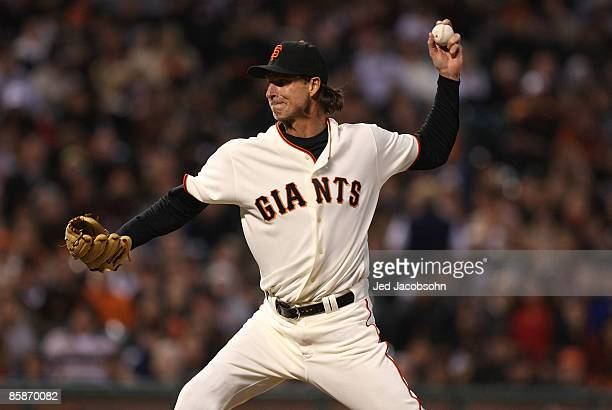 Randy Johnson of the San Francisco Giants pitches against the Milwaukee Brewers during a Major League Baseball game on April 8 2009 at ATT Park in...