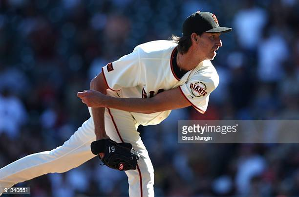 Randy Johnson of the San Francisco Giants pitches against the Arizona Diamondbacks during the game at ATT Park on October 1 2009 in San Francisco...