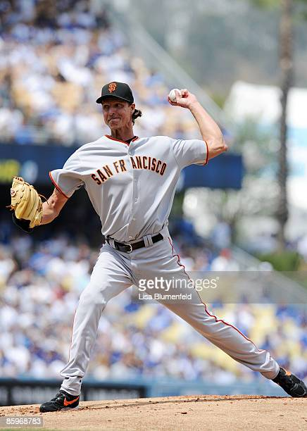 Randy Johnson of the San Francisco Giants pitches against the Los Angeles Dodgers on Opening Day at Dodger Stadium on April 13, 2009 in Los Angeles,...