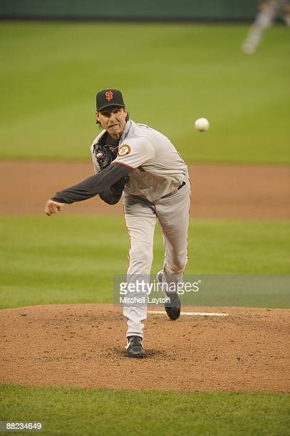 Randy Johnson of the San Francisco Giants pitches and wins his 300th game which was played against the Washington Nationals at Nationals Park in...