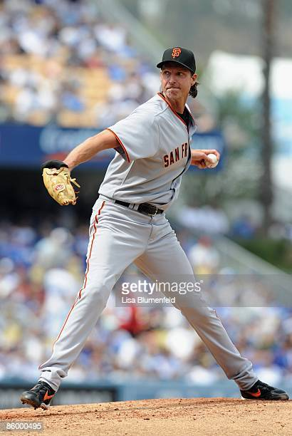 Randy Johnson of the San Francisco Giants pitches during the game against the Los Angeles Dodgers on Opening Day at Dodger Stadium on April 13 2009...