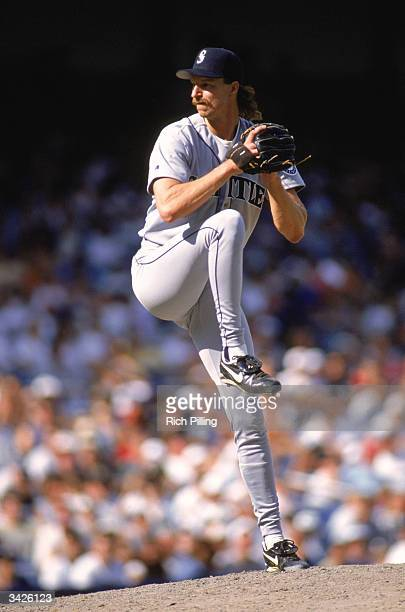 Randy Johnson of the Seattle Mariners on the mound during a 1996 season game