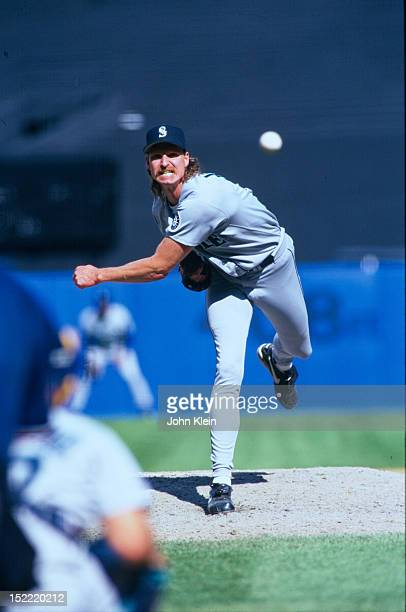 Randy Johnson of the Seattle Mariners pitches against the New York Yankees during an American League game circa 1994 at Yankee Stadium in the Bronx...