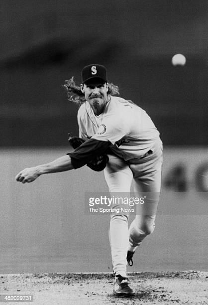 Randy Johnson of the Seattle Mariners pitches circa 1990s