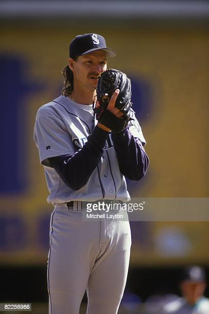 Randy Johnson of the Seattle Mariners pitches during a baseball game against the Milwaukee Brewers on September 1 1993 at Milwaukee County Stadium in...