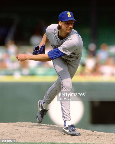 Randy Johnson of the Seattle Mariners pitches during an MLB game against the Chicago White Sox at Comiskey Park in Chicago, Illinois during the 1989...