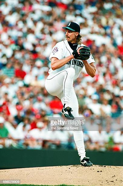 Randy Johnson of the Seattle Mariners pitches during the 1995 All Star Game on July 10 1995 at The Ballpark at Arlington in Arlington Texas