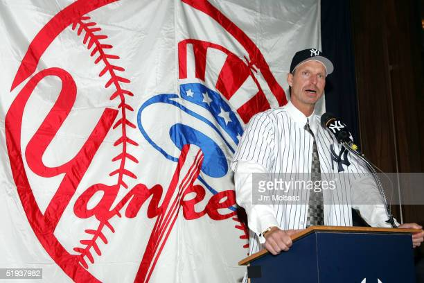 Randy Johnson speaks to the media after being introduced as the newest Yankees' pitcher on January 11 2005 at Yankee Stadium in the Bronx borough of...