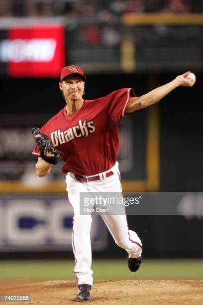 Randy Johnson starting pitcher for the Arizona Diamondbacks pitches against the San Francisco Giants during a game on April 29 2007 at Chase Field in...