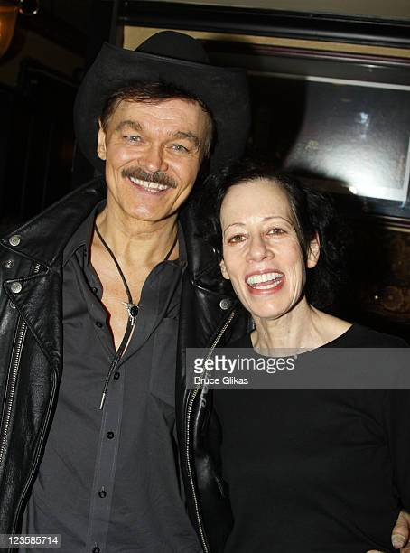 Randy Jones and Allyce Beasley pose at the after party for Kelsey Grammer Douglas Hodge Robin De Jesus Fred Applegate's final performance in 'La Cage...