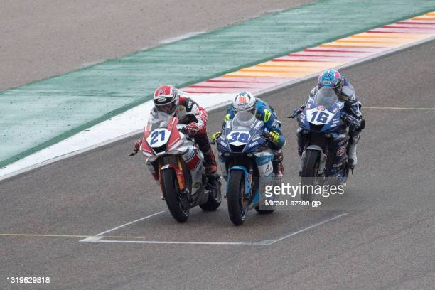 Randy Krummenacher of Swiss and EAB Racing Team leads Hannes Soomer of Estonia and Kallio Racing and Jules Cluzel of France and GMT94 Yamaha during...