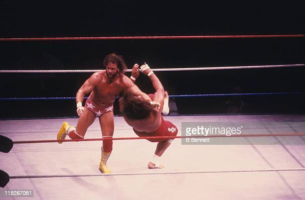 Randy Macho Man Savage closelines Sika during their WWF match circa 1987 at the Madison Square Garden in New York New York