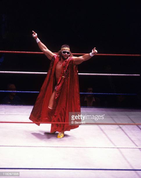 Randy Macho Man Savage enters the ring before a WWF match against Sika circa 1987 at the Madison Square Garden in New York New York