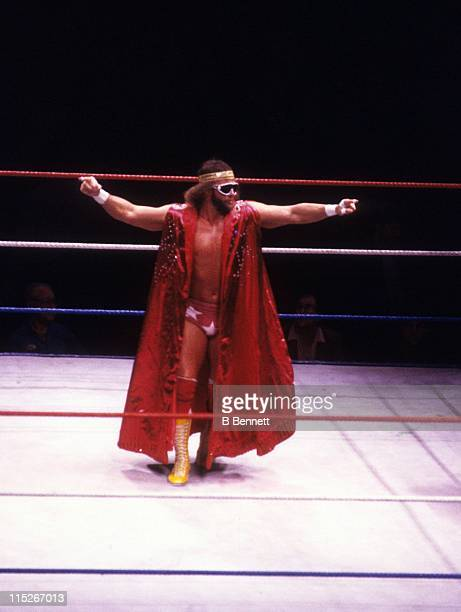 Randy 'Macho Man' Savage enters the ring before a WWF match against Sika circa 1987 at the Madison Square Garden in New York New York