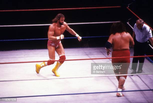 Randy Macho Man Savage gets ready to engage with Sika during their WWF match circa 1987 at the Madison Square Garden in New York New York
