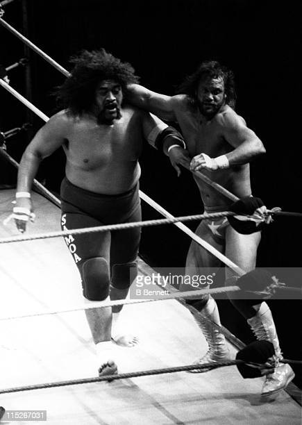 Randy Macho Man Savage gets ready to throw Sika into the turn buckle during their WWF match circa 1987 at the Madison Square Garden in New York New...
