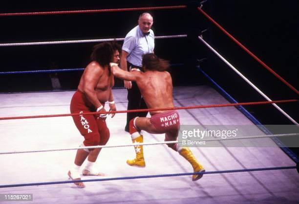 Randy Macho Man Savage hits Sika during their WWF match circa 1987 at the Madison Square Garden in New York New York