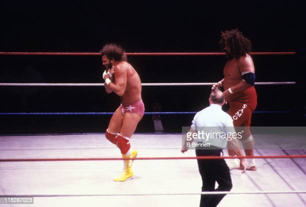 Randy Macho Man Savage holds his throat after being choked by Sika during their WWF match circa 1987 at the Madison Square Garden in New York New York