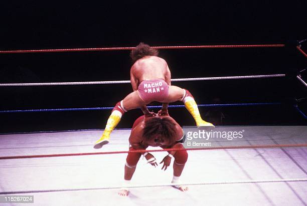 Randy 'Macho Man' Savage jumps over Sika during their WWF match circa 1987 at the Madison Square Garden in New York New York